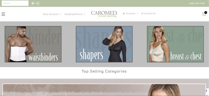 This screenshot of the home page for Caromed has a light olive green header, a white navigation bar, and a row of Caromed products being displayed by models, including a white waistbinder on a fit, dark-skinned man, a black shaper on a blonde woman, and an ivory bra vest on a woman with blonde hair.