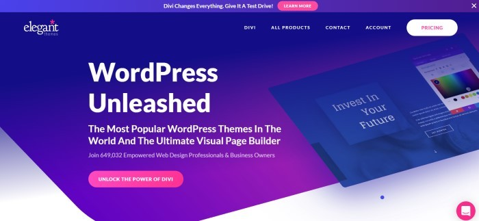 This screenshot of the home page for Elegant Themes has a royal blue header above a darker royal blue main section with white lettering announcing the most popular WordPress themes in the world and a pink call-to-action button for trying out Divi.