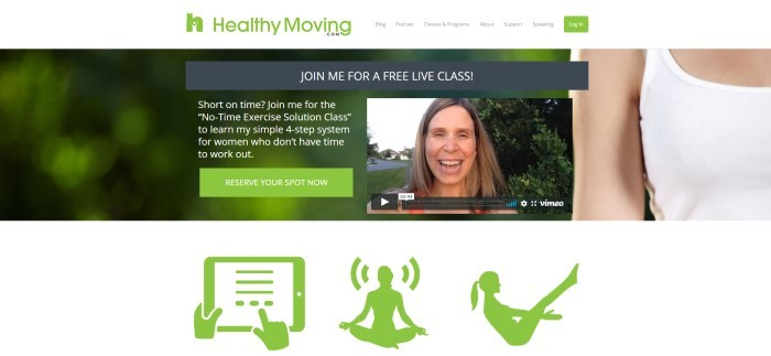 This screenshot of the home page for Healthy Moving has a green logo and log-in button in a white navigation bar, above a photo f a smiling woman with brown hair and white text over a green-filtered photo background inviting customers to join her for a free live class, along with green icons for yoga, Pilates, and tracking success on a tablet.