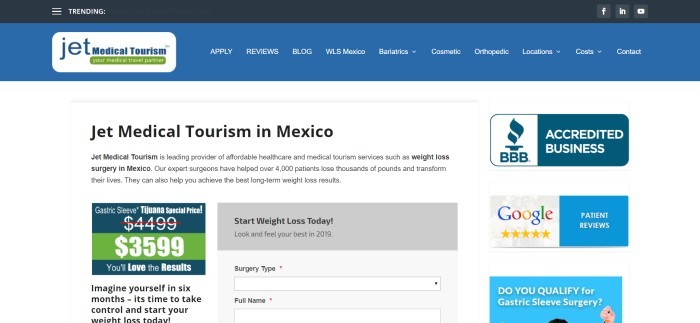 This screenshot of the home page for JetMedical Tourism has a blue navigation bar with white text, a white background with black text describing Jet Medical Tourism in Mexico, and a blue, white, and green sales window announcing a discount on gastric sleeves on the left side of the page, as well as ratings and icons on the right side of the page for the BBB and Google.