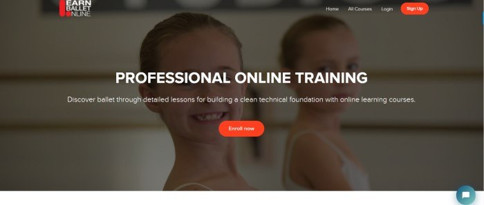 This screenshot of the home page for Learn Ballet Online has a dark filtered photo of two smiling young girls in buns and leotards in a dance studio, along with white text announcing professional online ballet training and a red call-to-action button.