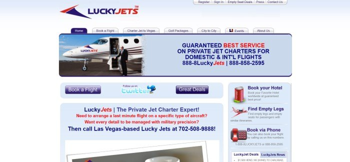 This screenshot of the home page for Lucky Jets has a pale blue and white background, a dark blue and red logo, and blue and red text next to a small photo of a man in a black suit about to board a white jet with the Lucky Jets logo on it, along with more text describing this company's services.