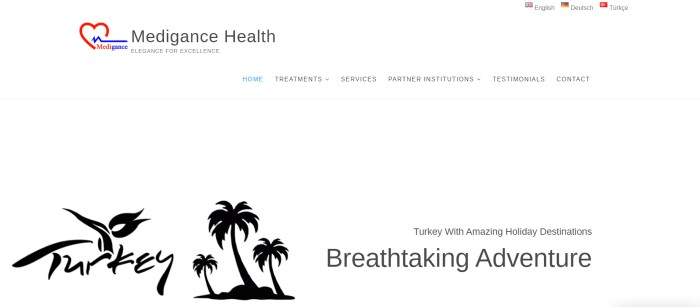 """This screenshot of the home page for Medigance Health has a white background, a red and blue logo, black text in the navigation bar, and a black graphics section showing three palm trees between the word """"Turkey"""" and an invitation to travel to Turkey for holiday adventures."""