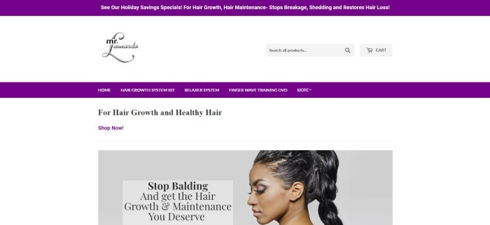 This screenshot of the home page for Mr. Leonardo has a white background with a purple header and purple navigation bar, along with a photo of a woman with perfect brown skin and long, black, thick hair, as well as text in black describing the benefits of using these products.