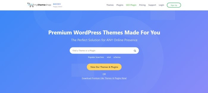 This screenshot of the home page for My Theme Shop has a white navigation bar above a blue section with white lettering announcing premium WordPress themes, along with a white search bar and a gold-colored call-to-action button.