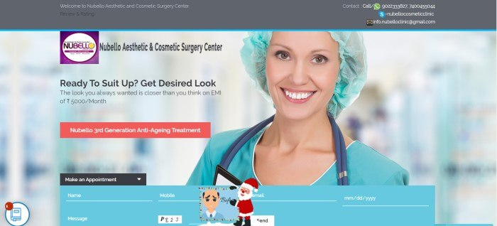 This screenshot of the home page for Nubello Aesthetic and Cosmetic Surgery Center has a gray header and a large photo that focuses on a smiling brown-eyed woman in aqua-colored medical clothing and a surgical hair cap, next to text and call to action buttons on the left.