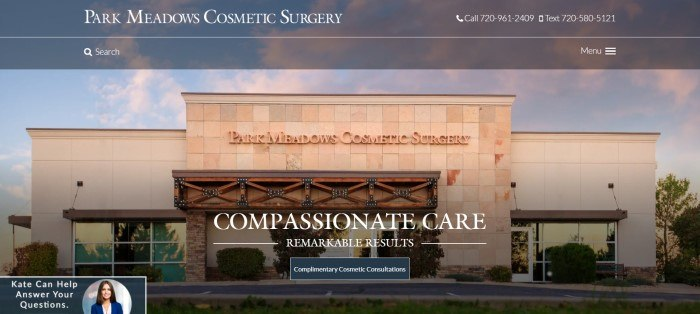 This screenshot of the home page for Park Meadows Cosmetic Surgery has a dark-filtered translucent header with white text above a photo of one of the Park Meadows clinic, which is made from orange and brown stone and beige stucco.