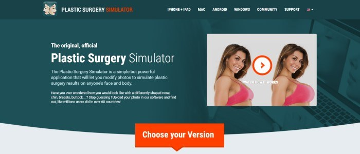 This screenshot of the home page for Plastic Surgery Simulator has a black header and a dark gray background with white text describing the software, next to two photos of a smiling brown-haired woman, with one of the photos showing a larger chest than the other, and a red call-to-action button.