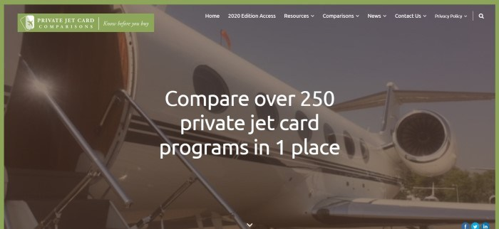 This screenshot of the home page for Private Jet Card Comparisons has a dark-filtered photo of the open door of a white jet behind white text inviting customers to compare private jet card programs.