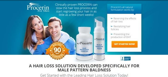 This screenshot of the home page of Procerin for Men has a teal background behind a photo of a smiling dark-haired man in a blue shirt and a smiling woman with brown hair leaning around his shoulders from behind him, near two bottles of Procerin products in white bottles, an orange satisfaction guaranteed badge and an orange call-to-action button.