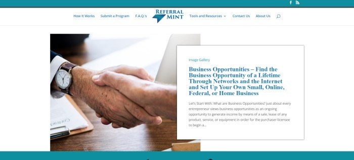 This screenshot of the home page for Referral Mint has a teal header and footer, a white background, a photo the hands of two men shaking hands over a desk with papers and an open laptop, and a text box describing business opportunities in black and blue text.