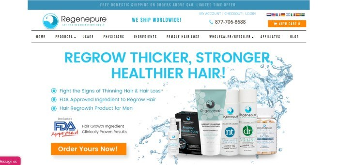This screenshot of the home page for Regenepure has a white background, a teal header, and aqua text announcing thicker, stronger, healthier hair, next to several bottles of Regenepure products in front of a splash of water, along with an orange call-to-action button.