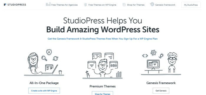 This screenshot of the home page for Studio Press has a white navigation bar and main section background with black text and black sketches people representing all-in-one packages, the Genesis Framework, and individual themes.