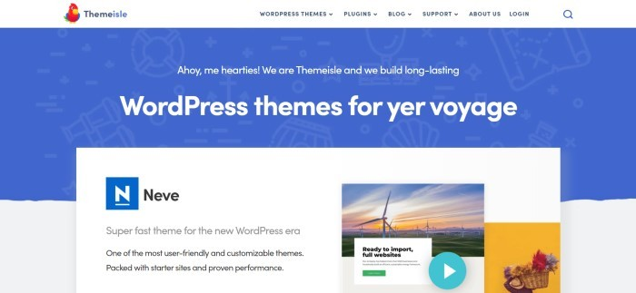This screenshot of the home page for Theme Isle has a white navigation bar with a red parrot logo above a blue section with white text and a white insert announcing the Neve theme.