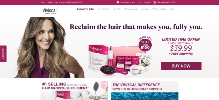 This screenshot of the home page for Viviscal has a maroon header, a white background, and a photo of a smiling woman with long brown hair and a maroon shirt, standing next to a set of Viviscal products in maroon and whtie packaging.