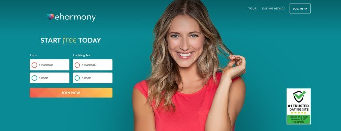 This screenshot of the home page for eHarmony has a teal background with a photo of a smiling blond woman in a red sleeveless shirt next to a search area with an orange call-to-action button.