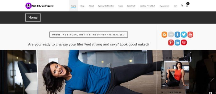 This screenshot of the home page for Get Fit. Go Figure! Has a white and black header and a white background with black text above a photo of a woman with dark hair in blue and black workout clothing side-planking on the floor of a hardwood living room while she smiles.