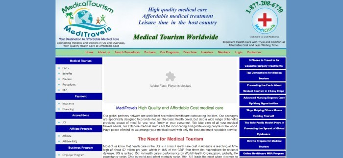 This screenshot of the home page for MediTravels has a blue background and a central section with a light blue header that includes a green navigation bar with red lettering, green and blue logos, and green and blue text above a text section in blue, green, and black describing MediTravels medical care benefits.