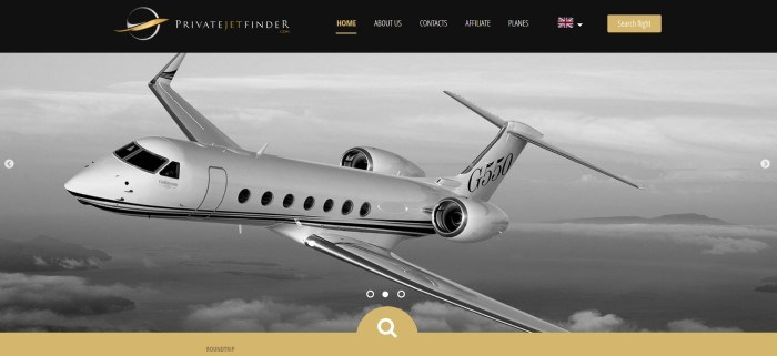 This screenshot of the home page for Privatejetfinder.com has a black navigation bar with gold and white text above a black and white photo of a white twin-jet aircraft flying over some water and islands.
