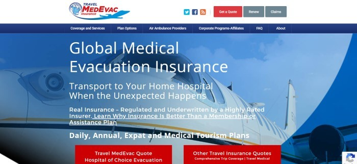 This screenshot of the home page for TravelMedEvac Insurance has a white header with a blue and red logo, a dark blue navigation bar with white text, and a blue-filtered photo of an airplane on the ground, behind white text describing global medical evacuation insurance.
