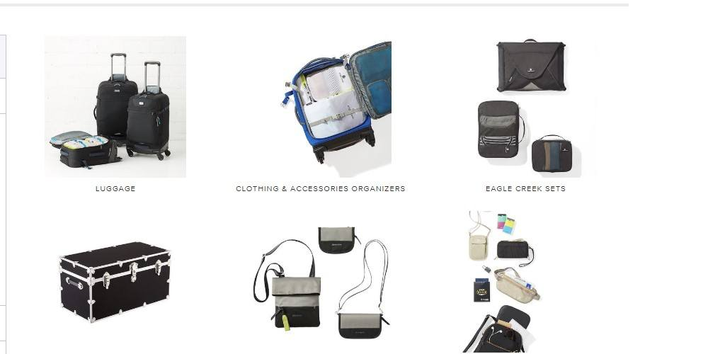 the container store travel category page