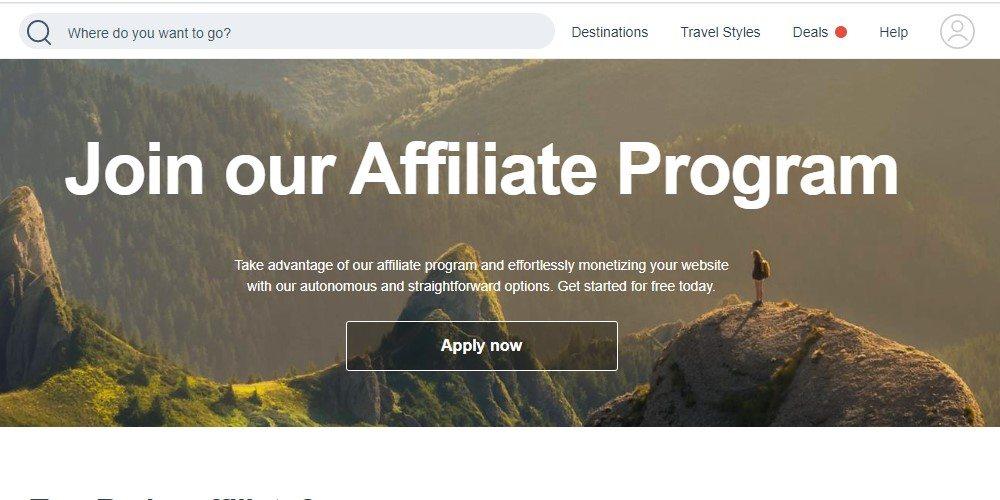 tour radar affiliate sign up page