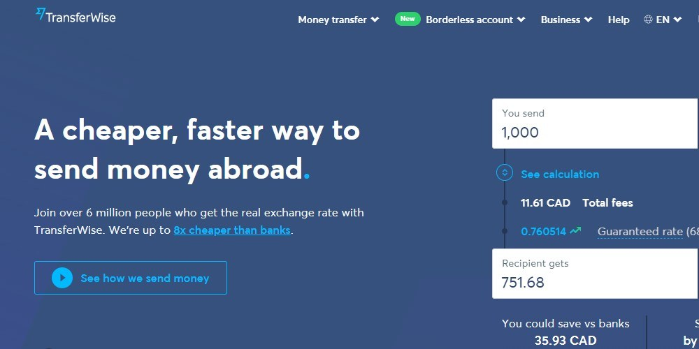 transfer wise home page