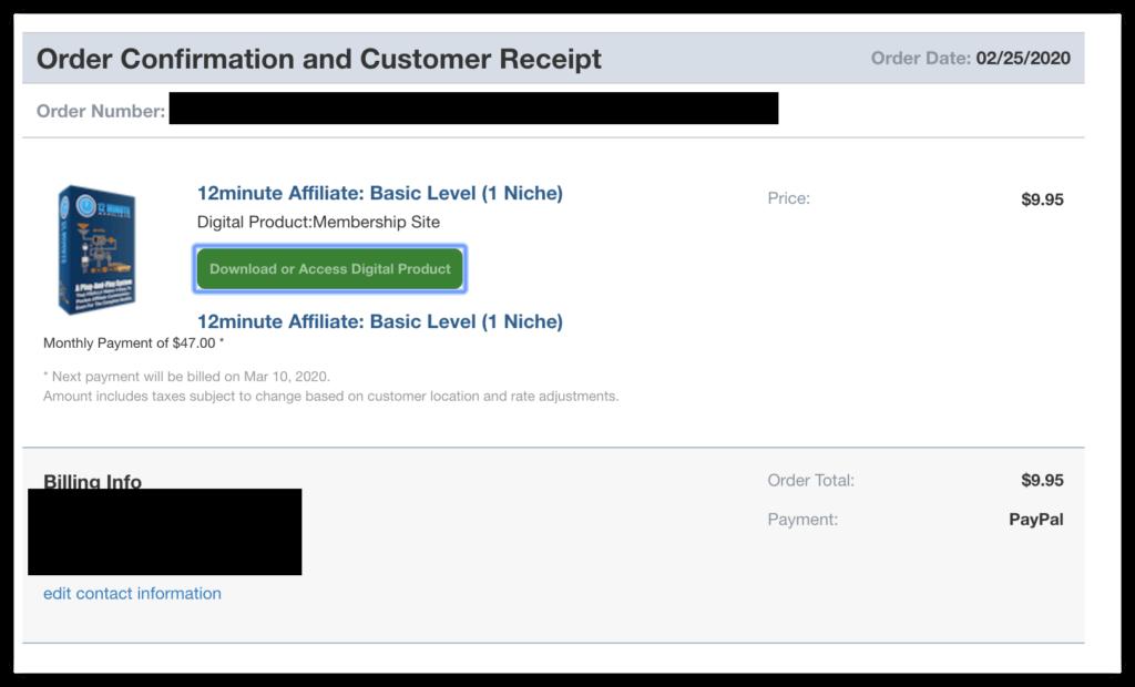 12 minute affiliate receipt
