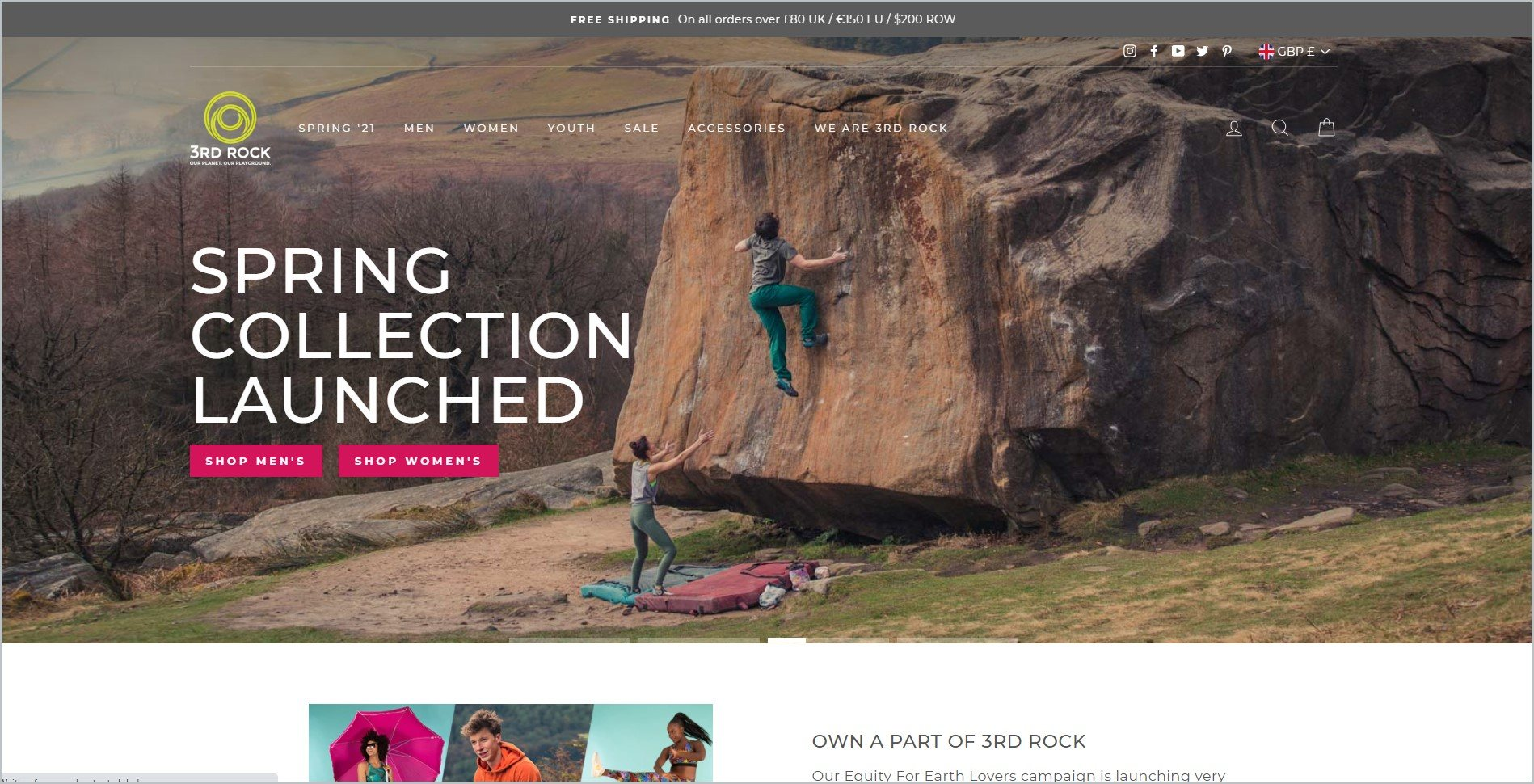screenshot of 3RD ROCK homepage, with grey announcement bar, it shows the website's name and logo with the main navigation bar, it features a couple of wall climbers out in the nature