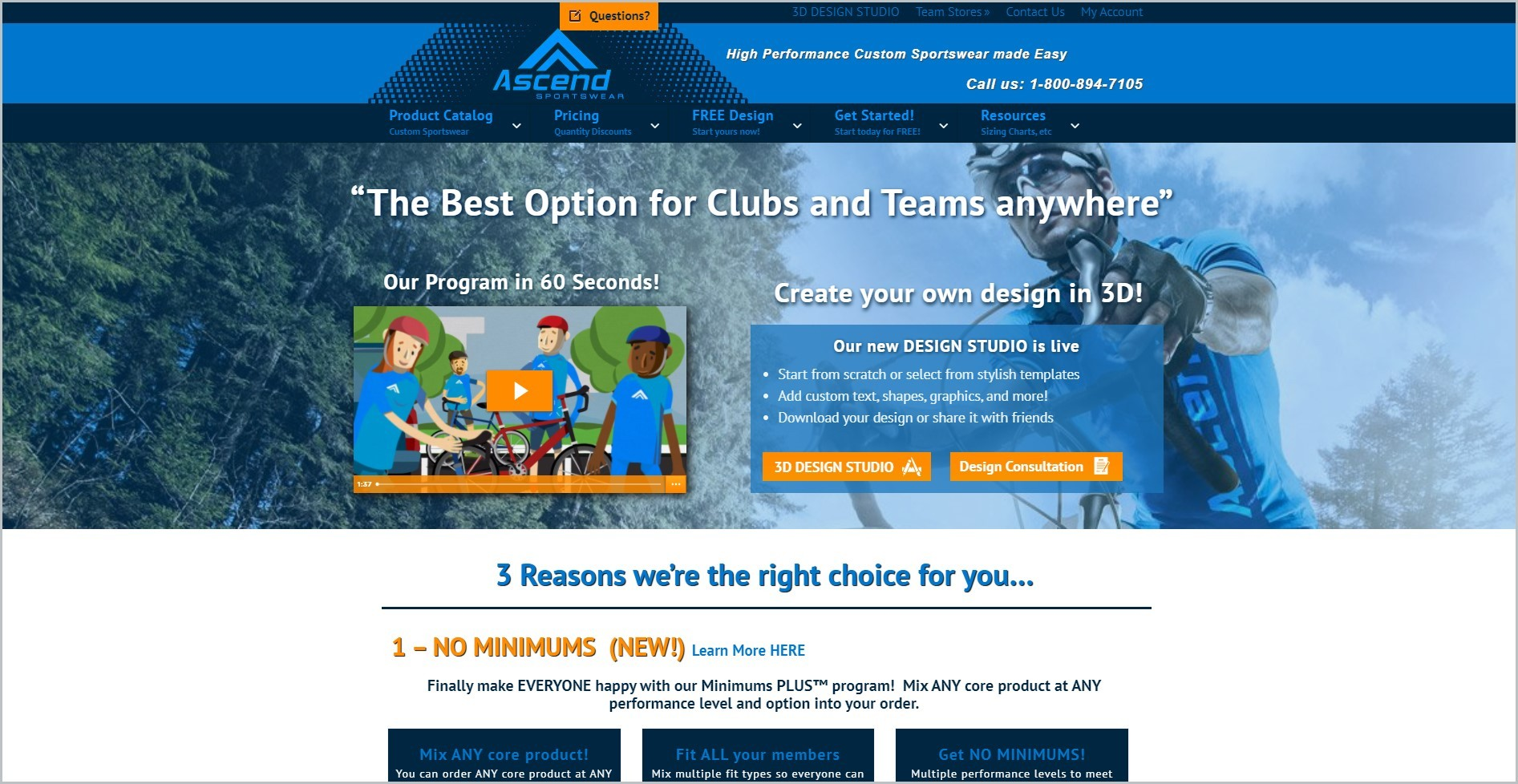 screenshot of Ascend Sportswear homepage with blue header with he website's name and contact information, underneath it is the blue main navigation bar