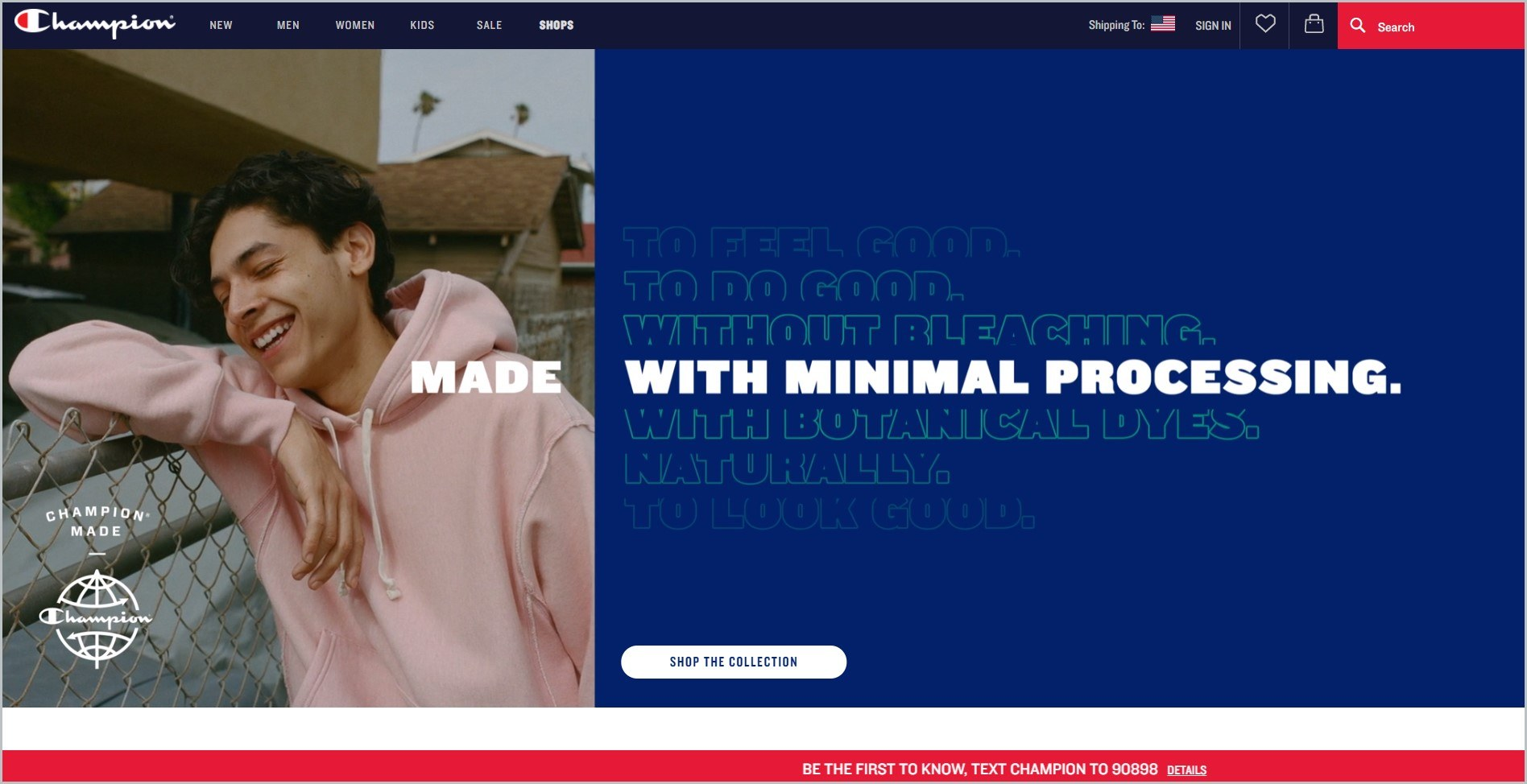 screenshot of Champion homepage with black header with the website's name and main navigation menu, it also features an image of a young man wearing a light pink hoodie