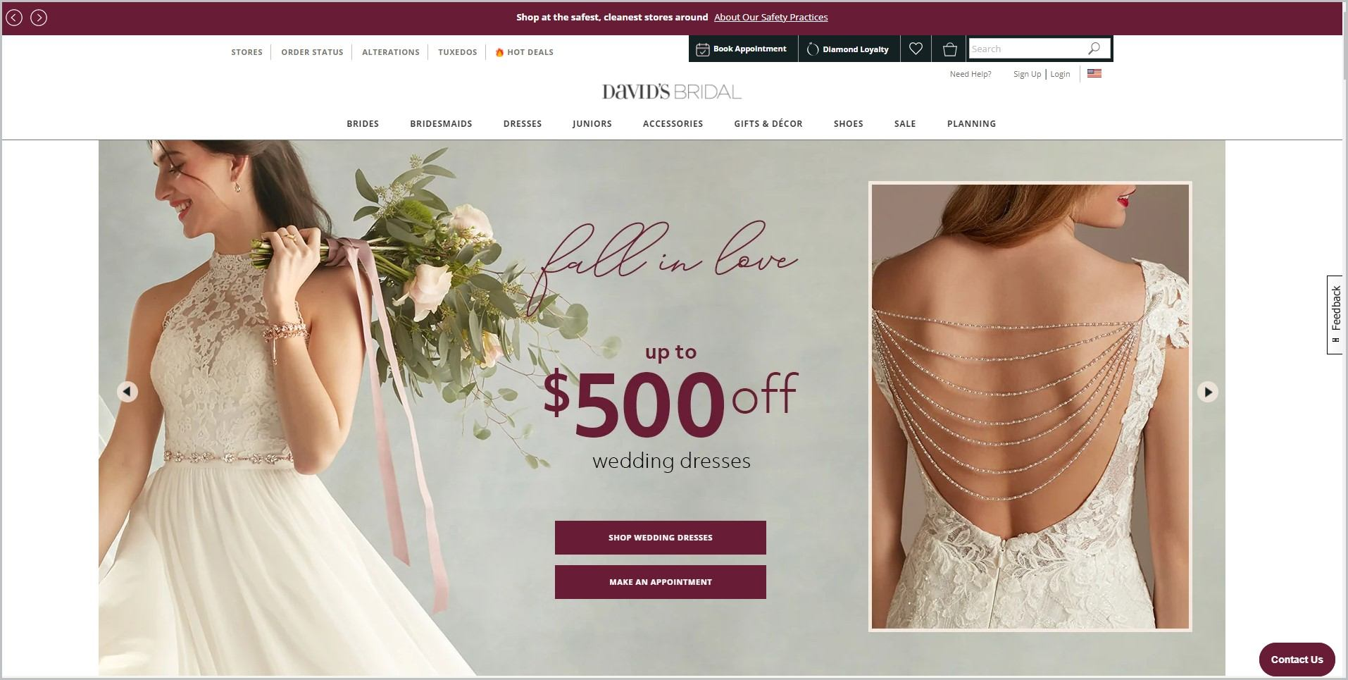 screenshot of David's Bridal homepage, with maroon announcement bar, white header with the website's name and main navigation menu, it showcases a couple of pictures of a woman showing the front and back of a wedding dress