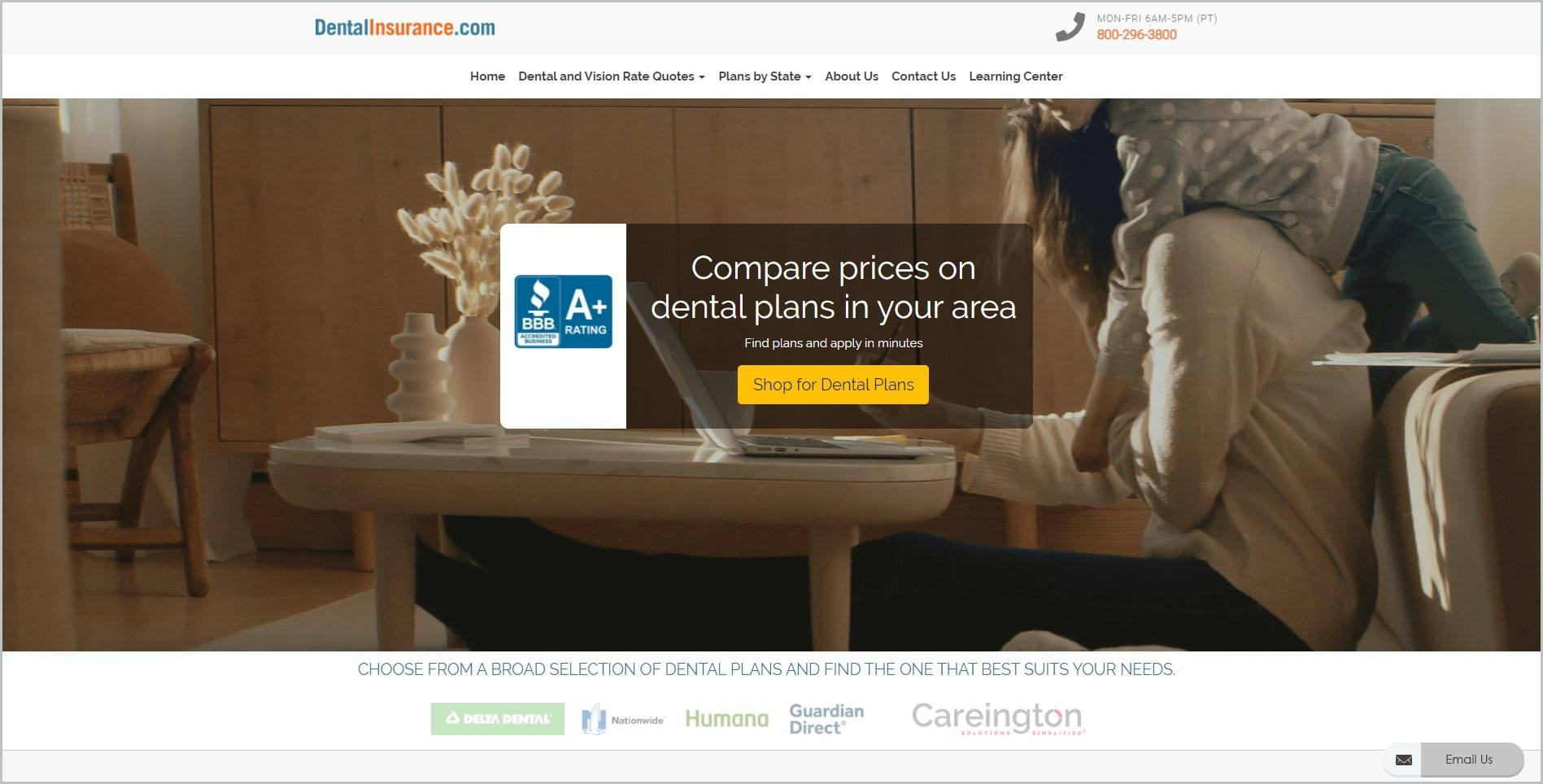 screenshot of DentalInsurance.com homepage, with white header bearing the website's name and company information, underneath is a white main navigation bar, it features an image of a woman sitting working on her laptop with her child clinging to her back