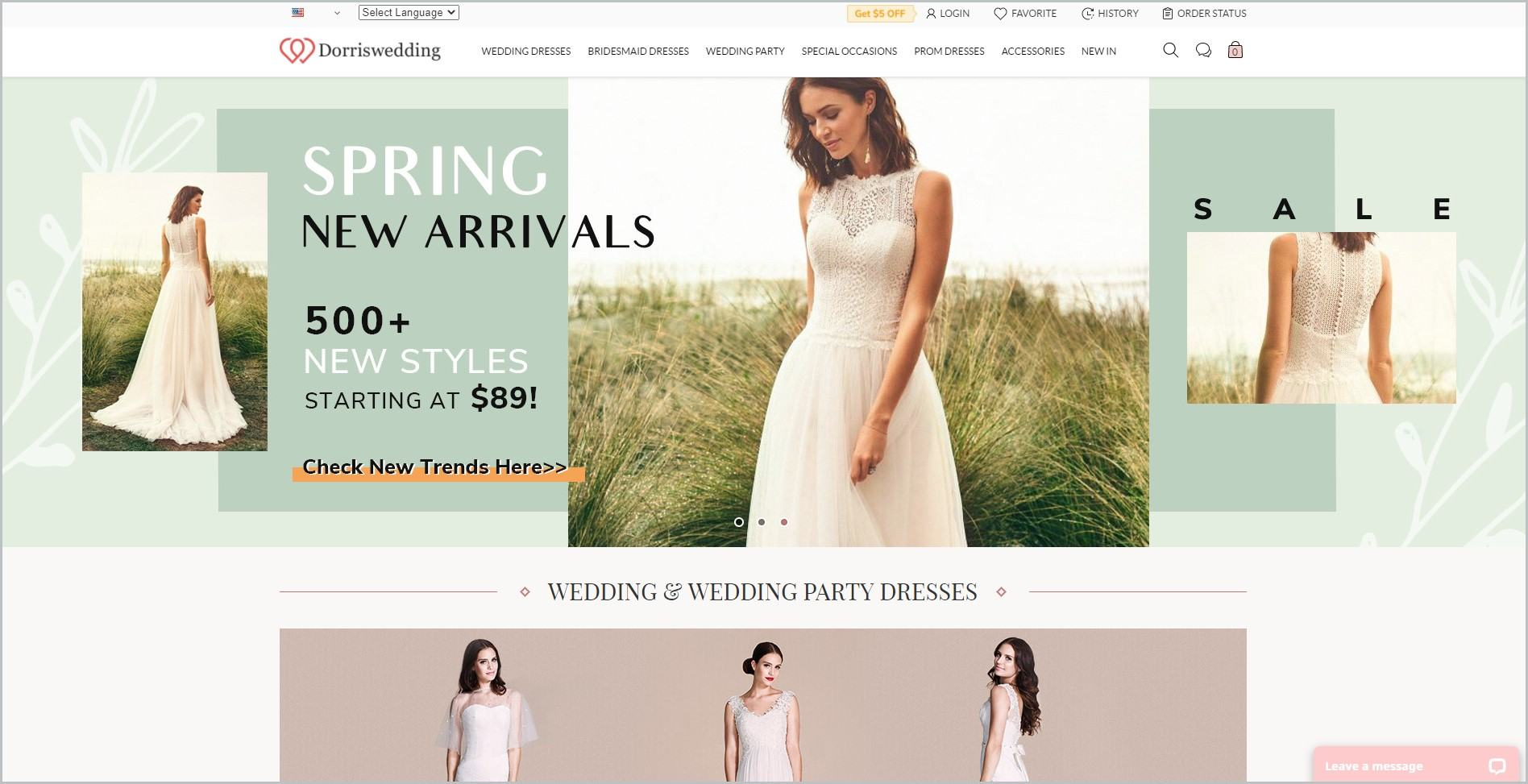 screenshot of Dorris Wedding homepage with white header bearing the website's name and the  main navigation menu, it also showcases pictures women modeling wedding dresses