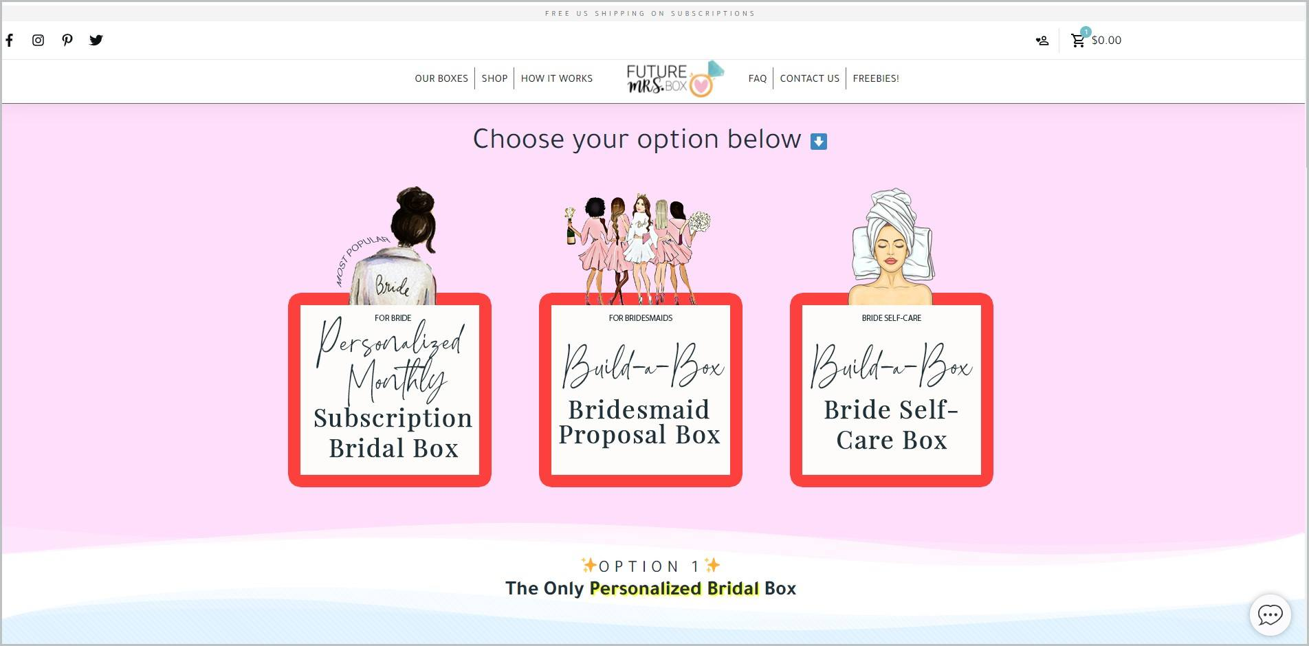 screenshot of Future Mrs Box homepage with a white header bearing the website's name and logo, with the main navigation menu, it also features the different types of boxes they offer