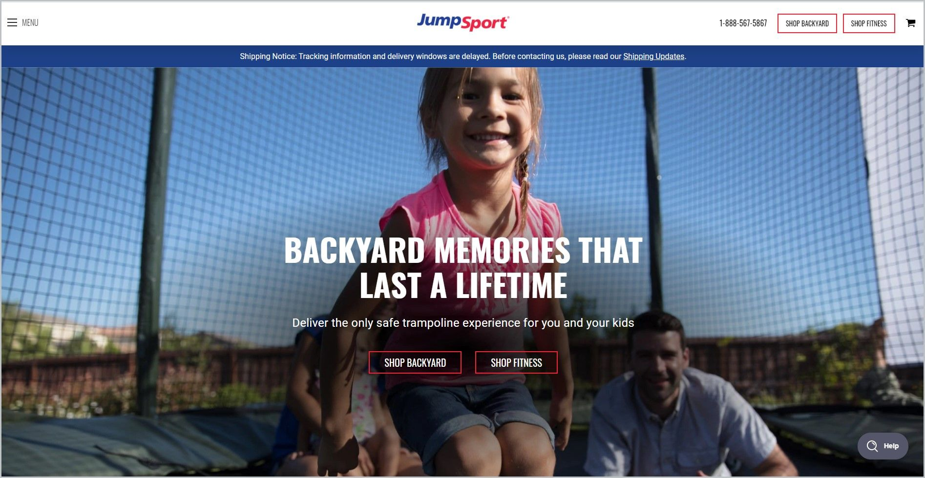 screenshot of JumpSport homepage, with white header bearing the website's name, main image shows a little girl jumping on a trampoline while her family look on at the background