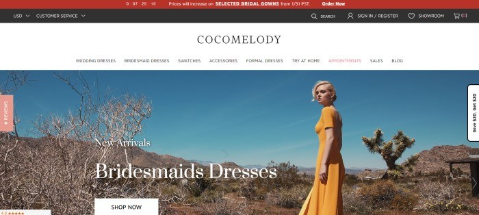This screenshot of the home page for Cocomelody has a black and red header, a white navigation bar with black text, and a photo of a blonde woman in a gold-colored bridesmaid dress standing in a desert setting with a bright blue sky, along with white text announcing new arrivals of bridesmaid dresses.