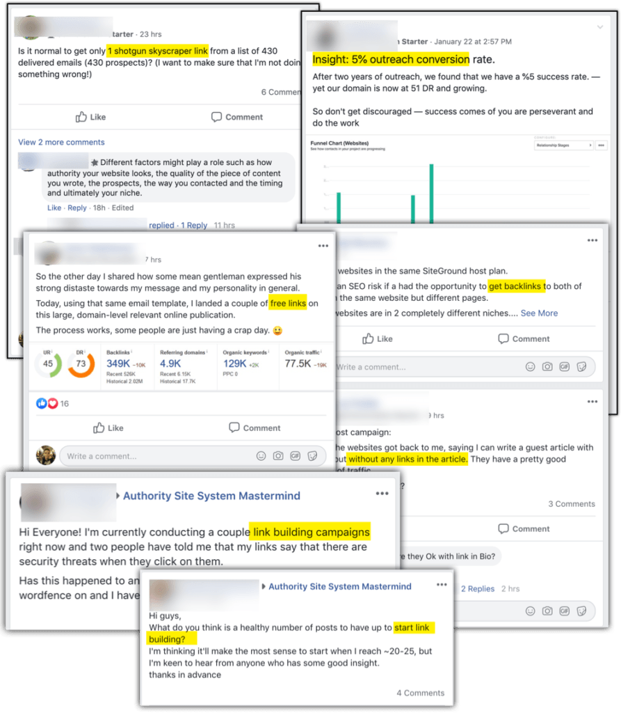 authority hacker facebook group obsessing over backlinks