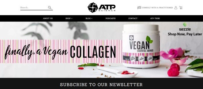 This screenshot of the home page for ATP Science has a black navigation bar with white text above a photo containing a jar of Vegan essential amino acids, along with a pink and greens striped banner section with black text announcing vegan collagen and an invitation to subscribe to the newsletter.