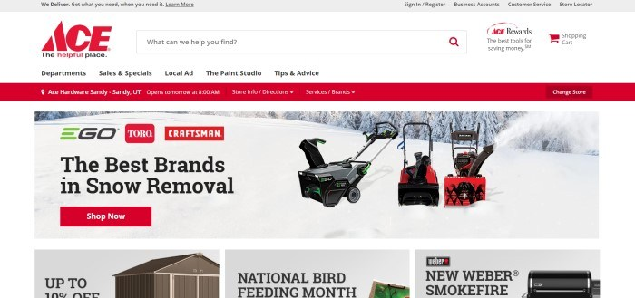 This screenshot of the home page for Ace Hardware has a white search bar and navigation bar with a red and black logo above a red store-finder bar and a photo of three snowblowers in the middle of a snowy yard, with black text describing the best snowblowers and a red call-to-action button, above three smaller product boxes with photos and text announcing sheds, bird feed, and grills.