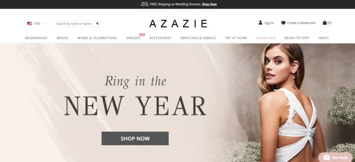 This screenshot of the home page for Azazie has a black header announcing free shipping, a white navigation bar, and a photo of a smiling blonde woman in a white wedding dress in front of an ivory and beige painted wall, along with black text announcing the New Year and a black call-to-action button for shopping.
