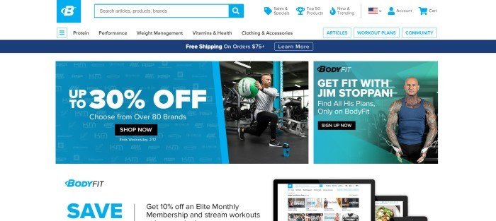 This screenshot of the home page for Bodybuilding.com has a dark blue header with a free shipping ad, a white background, and blue and aqua-colored ad boxes announcing 30% off discounts and the opportunity to get fit with Jim Stoppani, along with a photo of Jim Stoppani and a photo of a man holding a green and white ball as he lunges in a gym setting.