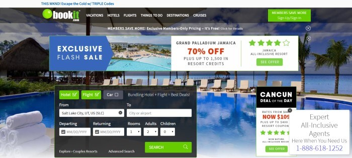 This screenshot of the home page for BookIt.com has a black and gray header above a panoramic photo of a beach front with a large hotel on it and a photo of a row of chairs near a swimming pool in front of the ocean, as well as text boxes in blue and white announcing a flash sale for traveling to Jamaica and a black, white, and green search window for finding travel opportunities.
