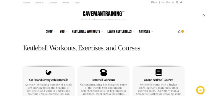 This screenshot of the home page for Caveman Training shows a simple website with a white background and black text describing kettlebell workouts, exercises, and courses.