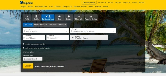 This screenshot of the home page for Expedia has a yellow header and navigation bar as well as a dark search window for finding bookings layered over a photo of a beach, including a blue sky, palm trees, the ocean, and an empty wooden lounge chair in the sand.