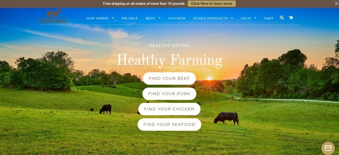 This screenshot of the home page for Farm Foods has a large photo of a green farm at sunset, including a small herd of black cows grazing in the pasture, along with four white call-to-action buttons for searching for beef, pork, chicken, or seafood and white text announcing healthy farming.