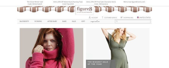 This screenshot of the home page for Figure 8 Moms has a brown and white awning decoration in the white header, above a gray navigation bar and a picture on the left side of the page of a pregnant red-haired woman in a bright pink sweater and a picture on the right side of the page of a blonde woman in an olive-green nursing dress.