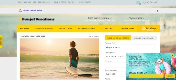This screenshot of the home page for Funjet has a light green and yellow header above a main section with a bright yellow navigation bar, a photo on the left side of a young boy with a surf board looking out to sea at sunset, and a search window on the right side of the page with yellow elements and an overhead photo of a woman in a swimsuit on a beach tube in the water.