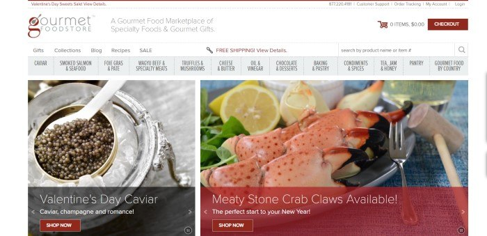 This screenshot of the home page for Gourmet Food Store has a white background with a gray navigation bar and maroon elements, above a photo on the left of caviar in a silver container and a photo on the right with a plate full of crab claws with greens and lemon slices, along with invitations and calls-to-action for purchasing those items.