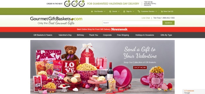 This screenshot of the home page for Gourmet Gift Baskets has a green header and main navigation bar above a pale green search bar section and a red and black secondary navigation bar, as well as a photo of several Valentine's day gifts in red, white, and pink, and an invitation in white text to send a gift to your valentine.